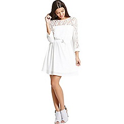 Girls On Film - Cream lace and chiffon dress