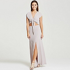 Little Mistress - By Chloe Lewis grey cut out maxi with tie feature