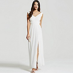 Little Mistress - White empire line maxi dress
