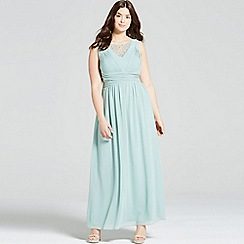 Little Mistress - Curvy sage empire line maxi dress