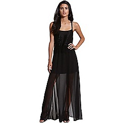 Girls On Film - Black floral lace tassle maxi dress
