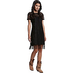 Girls On Film - Black floral lace tassle tunic dress