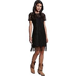 Girls On Film - Black floral lace tassle tunic dress