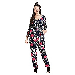 Girls On Film - Navy floral print jumpsuit