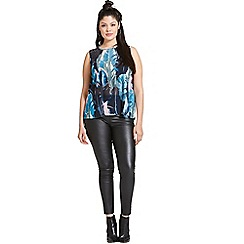 Girls On Film - Curvy blue print and black lace top