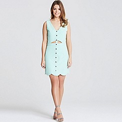 Little Mistress - By Chloe Lewis mint scallop edge cut out dress