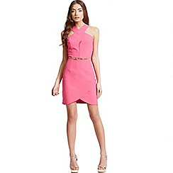 Girls On Film - Pink crossover strap dress