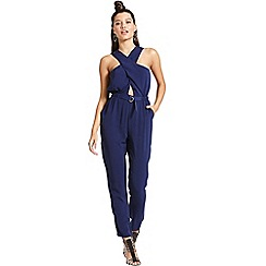 Girls On Film - Navy crossed chest jumpsuit