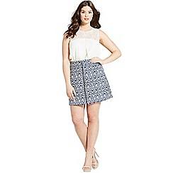 Girls On Film - Curvy navy aztec zip front skirt