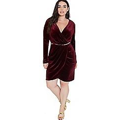 Girls On Film - Burgundy velvet wrap dress with belt