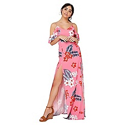 Girls On Film - Pink tropical maxi dress