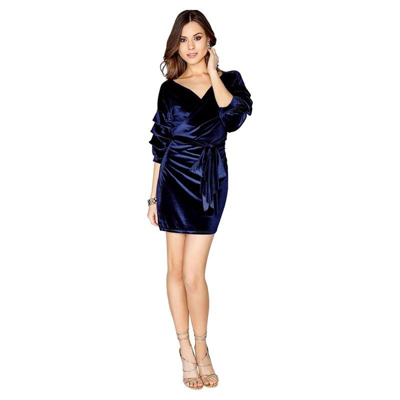 Girls On Film - Navy Velvet Mini Dress