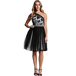 Laced In Love - One shoulder black prom dress