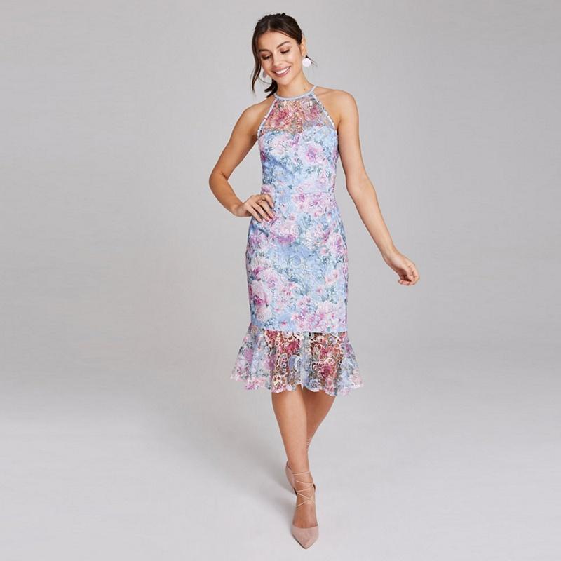 Paper Dolls Blue Britten Floral Lace Peplum Dress - 10 - Women's - Dresses (P5057990142956) photo