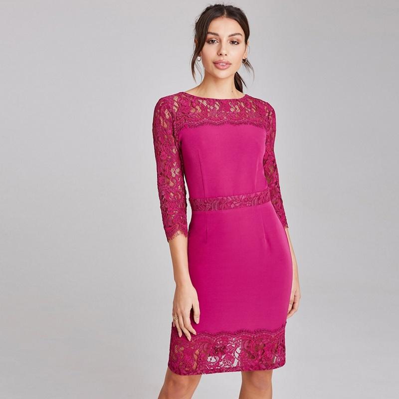 Paper Dolls Pink Tanner Magenta Lace Panel Dress - 16 - Women's - Dresses (P5057990180576) photo