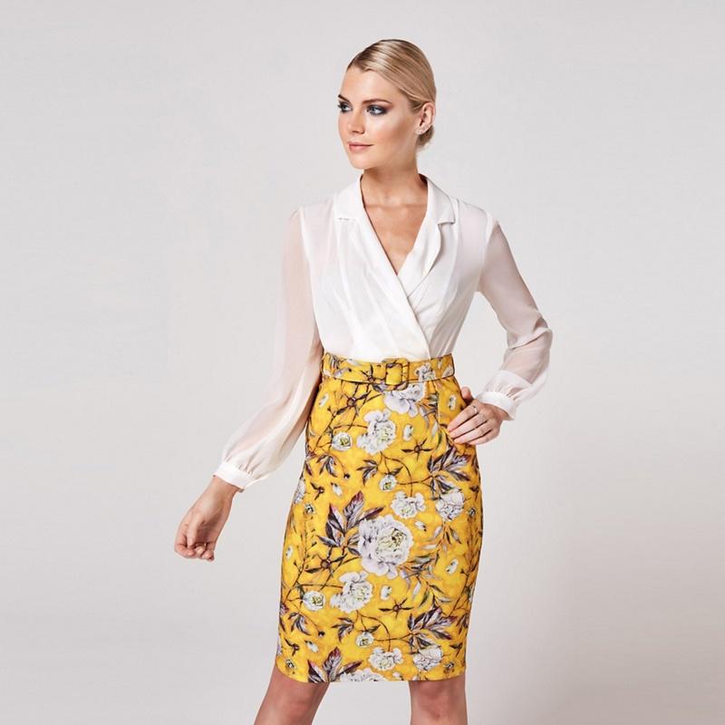 Paper Dolls Yellow Anjo Mustard Floral-Print Belted Shirt Dress - 8 - Women's - Dresses (P5057990221798) photo