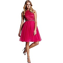 Laced In Love - A pink fit and flare dress with v line back