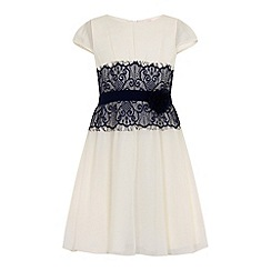 Little Misdress - White and navy lace dress