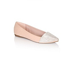 Little Mistress - Nude pointed glitter pumps