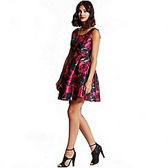 Girls On Film - Black and pink floral print skater dress
