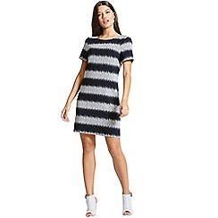 Girls On Film - Grey and black stripe shift dress