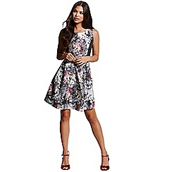 Girls On Film - Silver jacquard skater dress