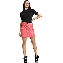 Girls On Film - Faux leather a-line skirt