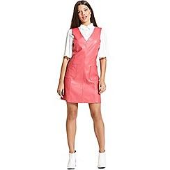 Girls On Film - Rasberry faux leather dress