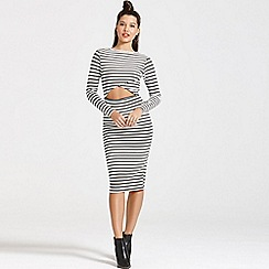 Girls On Film - Monochrome stripe cut out body-con dress