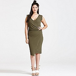 Girls On Film - Curvy khaki drape dress