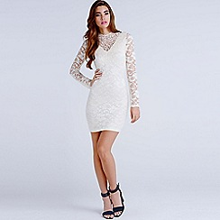 Girls On Film - Nude lace overlay bow back bodycon