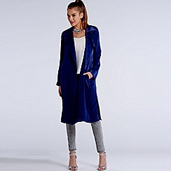 Girls On Film - Navy satin trench coat