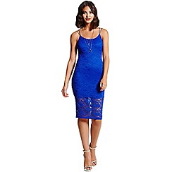 Girls On Film - Cobalt blue lace bodycon dress