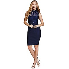 Paper Dolls - Blue collar lace insert dress