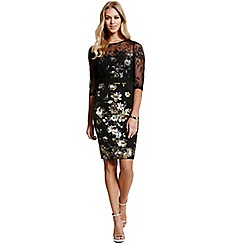 Paper Dolls - Black lace overlaid metallic floral dress