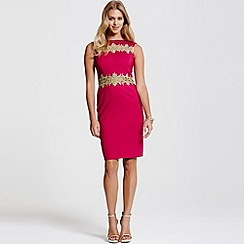 Paper Dolls - Gold lace trim berry dress