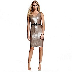 Paper Dolls - Gold sequin bow waist dress