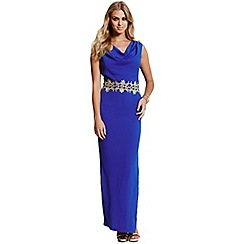 Paper Dolls - Blue gold lace trim maxi dress