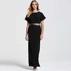 Paper Dolls - Black kimono gold sequin waist maxi dress