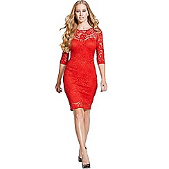 Paper Dolls - Red lace 3/4 sleeve dress