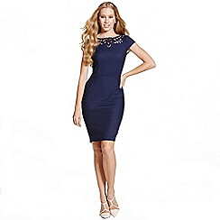 Paper Dolls - Navy cut out cap sleeve dress