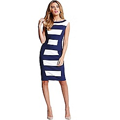 Paper Dolls - Navy and cream stripe panel dress