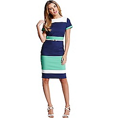 Paper Dolls - Navy, cream and green panel dress