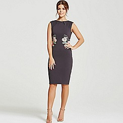 Paper Dolls - By Chloe Lewis dark grey rose applique dress
