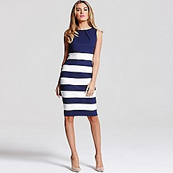 Paper Dolls - Navy and cream stripe skirt dress