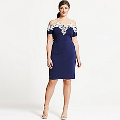 Paper Dolls - Navy and cream applique dress
