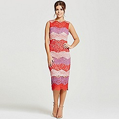Little Mistress - By Chloe Lewis multi stripe lace midi dress