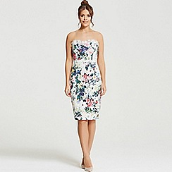 Little Mistress - By Chloe Lewis multi floral print crochet trim bandeau dress
