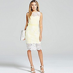Paper Dolls - Lemon and cream lace overlay dress