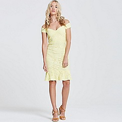 Paper Dolls - Lemon peplum hem bardot dress